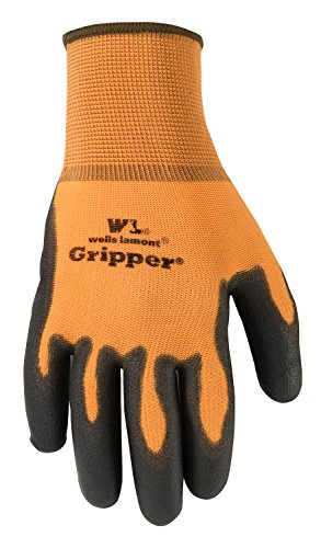 (Wells Lamont A559Lf Ultimate Gripper Work Gloves Excellent Grip In Wet/Oily Conditions Pu-Coated 3 Pack, Large, 2 Pairs Black, 1 Pair Hi-Viz Orange)