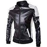 Men's PU Leather Bomber Coat Jacket Stand Collar Patchwork Outwear Black M
