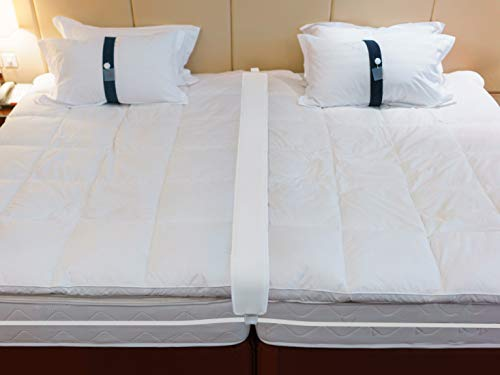 Twin to King Bed Bridge - Converter Kit for Twin Beds - Gap Filler Pad with Strap - Quickly Create King Size Bed - Mattress Connector for Guest Room (Two Twins To Make A King Bed)