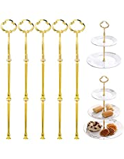 Wolintek Paterki, zestaw 5 sztuk, motywy kwiatowe, metalowe pręty, perforowane środkowo, paterki, 2 do 3 poziomów, patera na tort weselny (złoty)