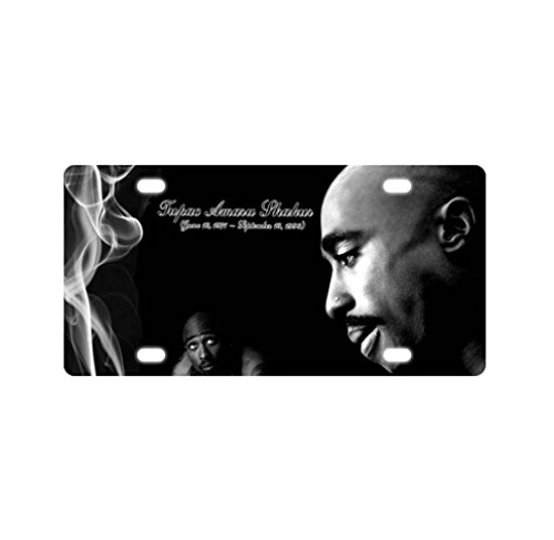 Personalized Unique - 2pac Tupac Best Hip Hop Rapper and Actor Black and White Style Metal License Plate (Tupac License Plate Frame compare prices)