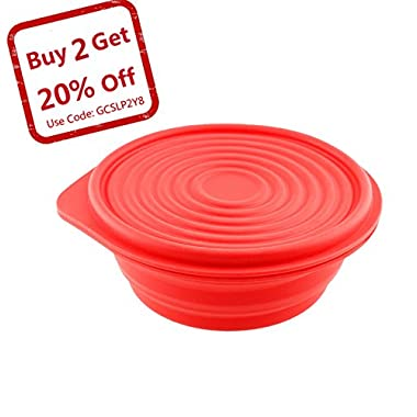 Collapsible Silicone Bowl for Camping - Food-grade & Space-Saving, Red - by Not Just A Gadget