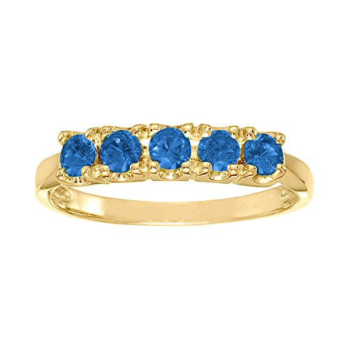 ArtCarved Sweet Moment Simulated Sapphire September Birthstone Ring, 10K Yellow Gold, Size 5 (Yellow Artcarved Ring)
