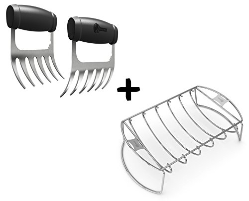 Meat Claws - STAINLESS STEEL PULLED PORK SHREDDERS + Rib Roast BBQ Rack - Roasting Chicken Turkey Hams on Gas or Charcoal Grill Smoker or In Oven - Dishwasher Safe for Barbecue