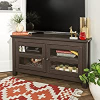 44 Inch Wide Espresso Brown Corner Tv Stand with Glass Doors