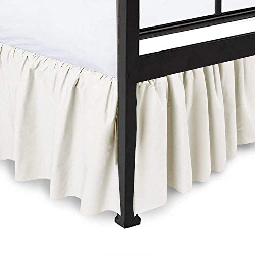 """Dust Ruffle with Split Corner Ruffled Gathered Bed Skirt with 16"""" Drop 100% Microfiber Soft,Sheen & Luxurious Look - Bed Skirts (Ivory Solid - Full)"""