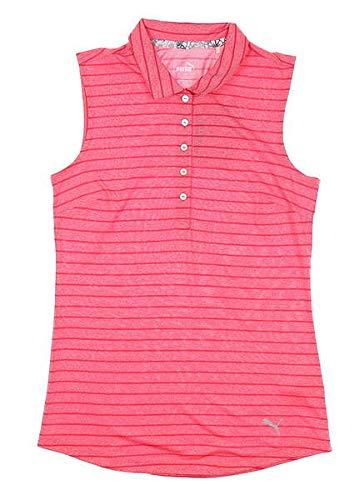 - PUMA New Womens Rotation Stripe Sleeveless Polo Small S Azalea 577928