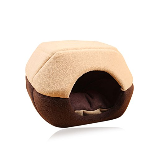 Giveme5 Cozy Pet Dog Cat Cave Mongolian Yurt Shaped House Bed Sofa with Removable Cushion inside (55X44X38cm, - Bamboo Furniture Cat