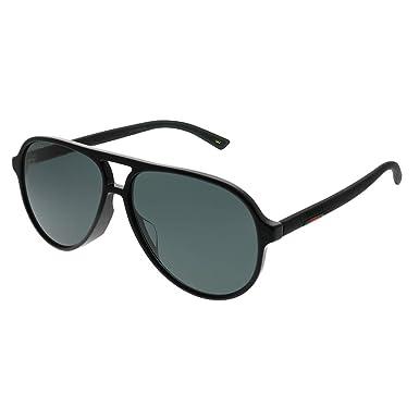 312c5d54d2a43 Amazon.com  Gucci GG 0423SA 001 Black Plastic Aviator Sunglasses Grey Lens   Clothing