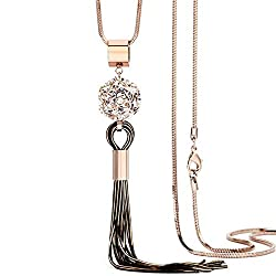 Rhinestone Crystal Tassel Necklace for Women