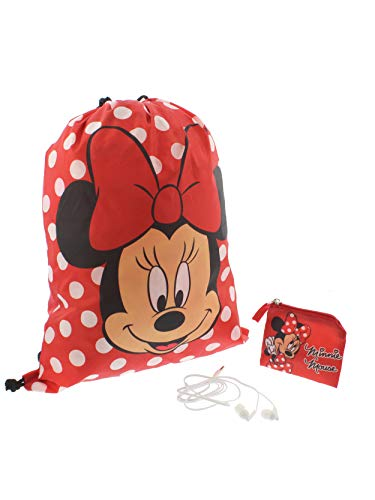 Minnie Mouse Girls Backpack Headphones and Coin Purse Gift Set (Red) -