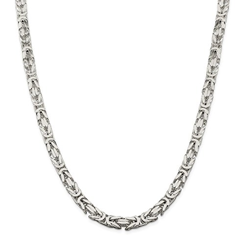 Top 10 Jewelry Gift Sterling Silver 6.9mm Square Byzantine Chain by Jewelry Brothers Chain-necklaces