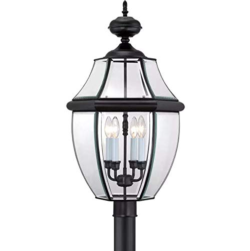 (Quoizel NY9045K Newbury Outdoor Post Lantern Pier Mount Lighting, 4-Light, 240 Watts, Mystic Black (30