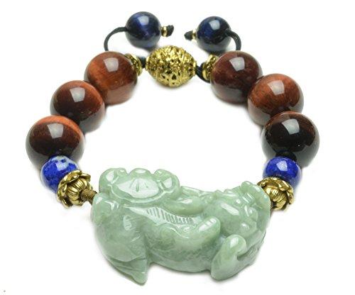 Amulet Tiger Eye (Rolling In Fortune Green Jade Tiger Red Tiger Eye Beaded Amulet Bracelet-Fortune Jade Jewelry)