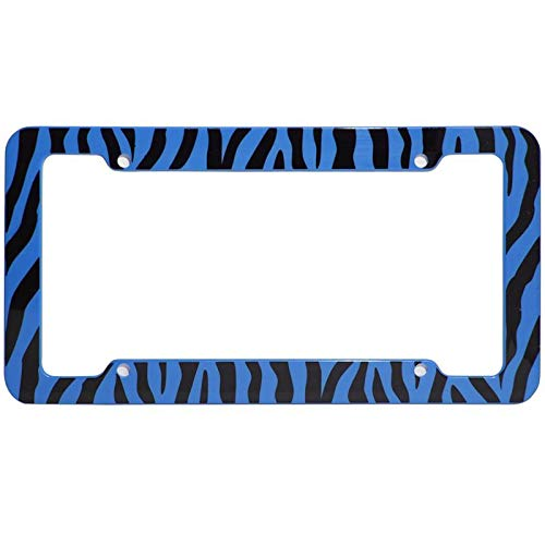 (Motorup America Auto License Plate Frame Cover - Fits Select Vehicles Car Truck Van SUV - Wild Blue Zebra Print)