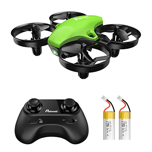 Potensic Upgraded A20 Mini Drone Easy to Fly Even to Kids and Beginners, RC Helicopter Quadcopter with Auto Hovering, Headless Mode, Extra Batteries and Remote Control-Green