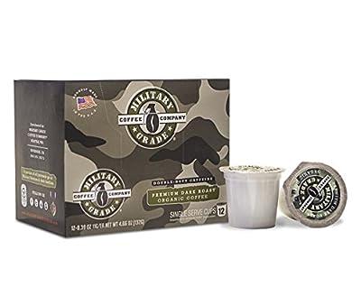 Military Grade Coffee K-Cups, Organic Premium Dark Roast Coffee for Keurig Brewers,12 Count 0.39 oz.