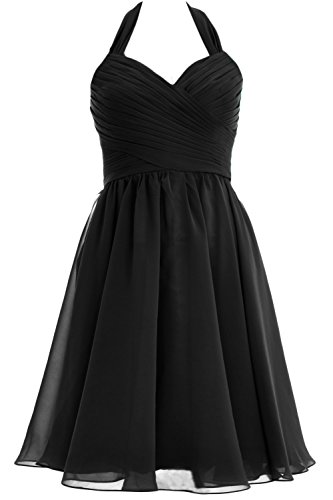MACloth Women Halter Short Chiffon Bridesmaid Dress Wedding Cocktail Party Gown Negro
