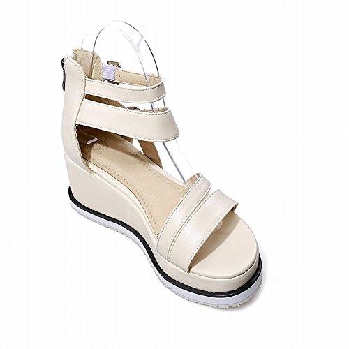 Fashion Casual Summer Chic Womens Beige Buckle Platform Zip Wedges Studded Carolbar Sandals fdqwFCxw