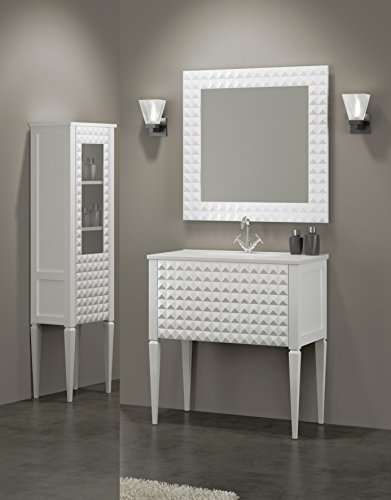Diamond 40-inch Wide Bathroom Vanity Cabinet Set, White High Gloss, Single Sink White Sink Console, Glass Top, Floor Mounted, Made in Spain (European Brand) by Hispania bath