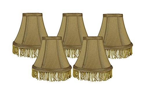 Urbanest Set of 5 Gold with Gold Fringe Silk Bell Chandelier Lamp Shade, 3-inch by 6-inch by 5-inch, -