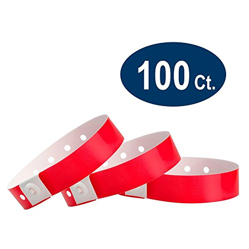 WristCo Neon Red Plastic Wristbands - 100 Pack Wristbands for Events -