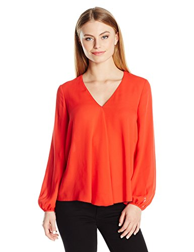 Ellen Tracy Women's Size Front Fold V-Neck Blouse, Tomato Red, Petite Large