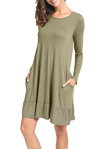 Army Dress (LAINAB Womens Fall Solid O Neck Loose Swing Casual Short Dress Army Green M)