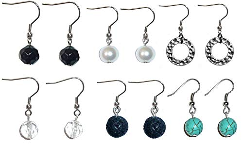Beaded Dangle Earrings, Surgical Stainless Steel French wire Women's Sets of beaded earrings in Gift Box. (6 Sets of Assorted Earings)