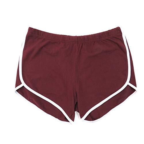 Henry & William Women's Dolphin Running Jersey Gym Yoga Shorts-Size S to L 11 Colors Burgundy