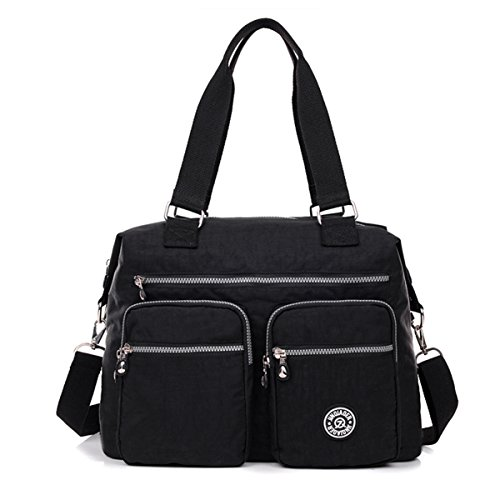 Large Resistant Bag with Nylon Totes Tiny Pockets Water Chou Crossbody Bag Black Lightweight Shoulder qzxZtC7