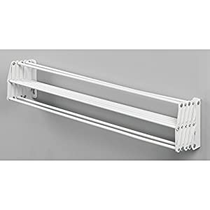 mDesign Laundry Room Wall Mount Accordion Clothes Drying Rack – White