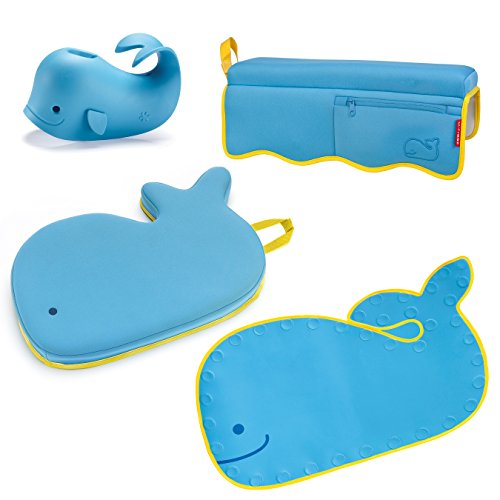 - Skip Hop Moby Baby Bath Set, Four Bathtime Essentials - Spout Cover, Bath Kneeler, Elbow Pad, And Bath Mat, Blue
