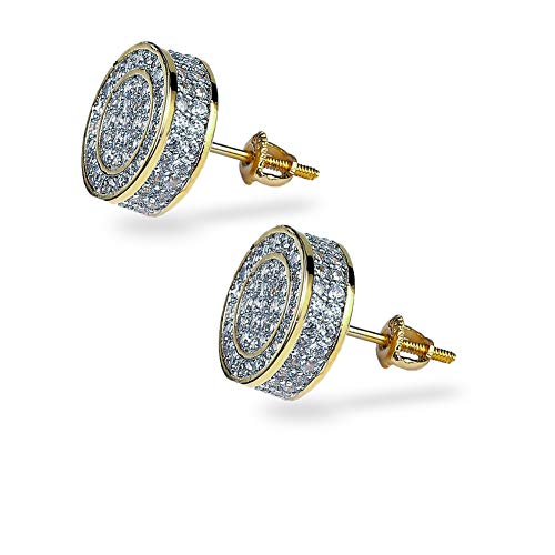 TOPGRILLZ 925 Sterling Silver Iced out CZ Zirconia Hypoallergenic Round Screw Back Circle Stud Earrings for Men Hip Hop Jewelry (Gold Big Circle) (Hip Hop Bling)