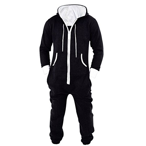 Haseil Men's Onesie Pajamas Non Footed With Hood Front Zipper One Piece Jumpsuit, BLK1, Tag Size XL=US Size M