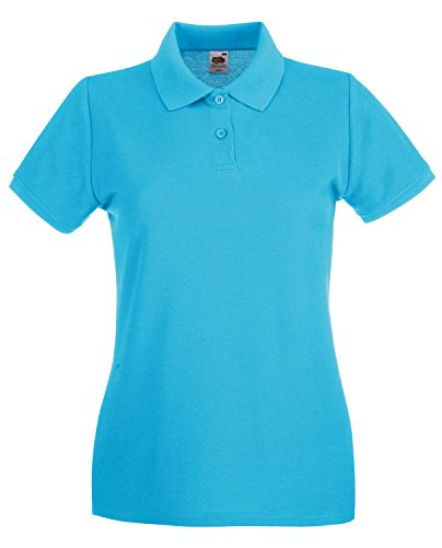 Fruit of the Loom Ladyfit Premium Polo - Azure Blue - (Fruit Of The Loom Polo)