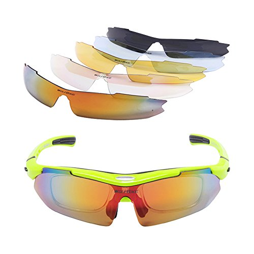 WOLFBIKE Polarized Sport Sunglasses with Myopia Frame and Five Interchangeable Lenses for Cycling Motorcycle Hiking Driving Running