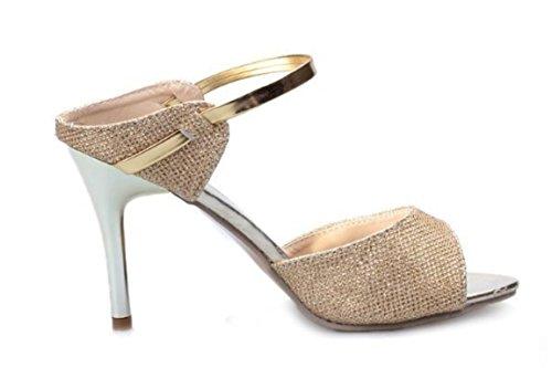 YCMDM nuove donne di estate dei sandali della bocca dei pesci Tacchi alti Belle con fibbia moda scarpe comode , gold , 38