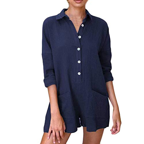 GREFER-Women Casual Button Down Blouse Shirts Cuffed Sleeve Loose T-Shirt Tops with Pockets Blue ()