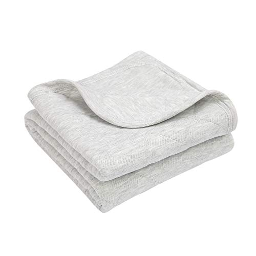 TILLYOU Allergy-Free Quilted Thermal Baby Blanket for Cribs - Thick Breathable Toddler Bedding Blanket for Boys, Girls - 100% Soft Jersey Cotton & Warm Microfiber Batting, Heather Gray, 39x47 ()