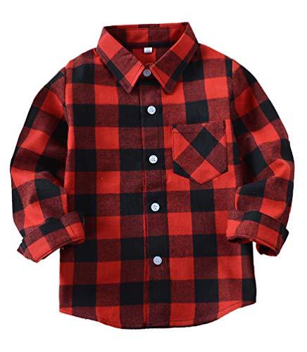 EachWell Kids Girls Boys Long Sleeve Button Down Plaid Flannel Shirt Red(US 9-10T,Tag ()