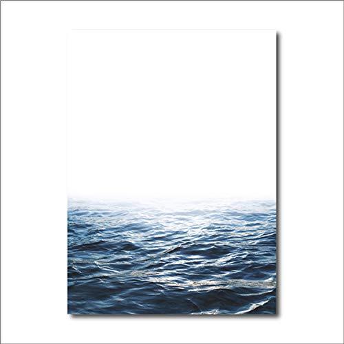 Qianqian Paper Crane Blue Ocean Art Canvas Painting Sea Waves Wall Pictures for Home Nordic Seascape Decoracion, Geometric Artwork Bird Prints Poster,A3 30x42 cm No Frame,FBH068 -