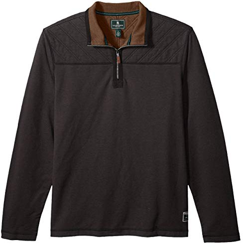 G.H. Bass & Co. Men's Quilted 1/2 Zip Fleece, Black Heather, X-Large from G.H. Bass & Co.