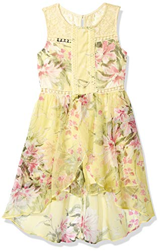 Amy Byer Girls' Big Fun Walk-Through Romper Dress, Yellow Multi Garden Bouquet 8