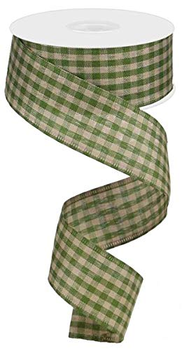 Primitive Gingham Check Wired Edge Ribbon, 10 Yards (Moss Green, Tan, 1.5