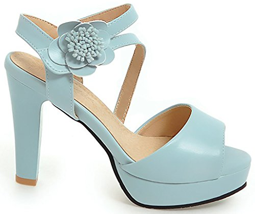 Calaier Womens Salsh Open-Toe 10CM Block Heel Hook-and-Loop Sandals Shoes Blue NnNwxC