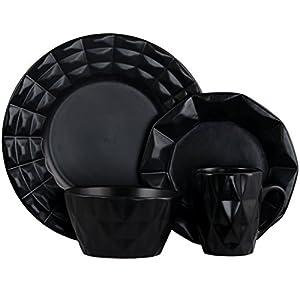 Elama Geometric Glazed Stoneware Diamond Cut Style Dinnerware Dish Set, 16 Piece, Black