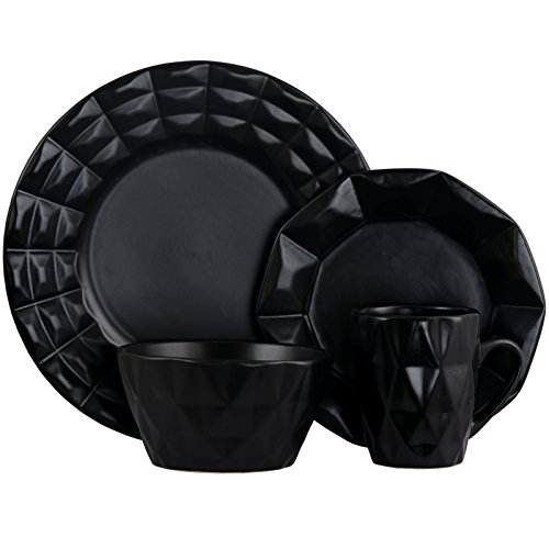 Elama 930102842M Elm-Retrochic-Black 16pc Dinnerware ()