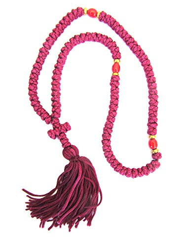 Handmade Blessed Christian Orthodox Greek Komboskoini Prayer Rope 100knots Pentant Red ()