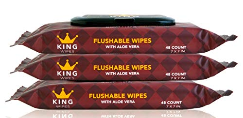 KING Flushable Wipes with Aloe Vera (3 Pack)